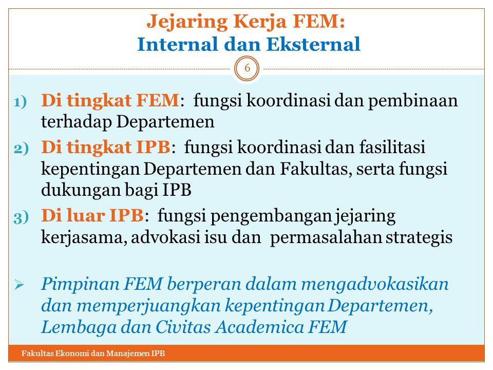Ultimate Goal : FEM Excellency AcademicResearch NetworksServices Welfare Fakultas Ekonomi dan Manajemen IPB 17