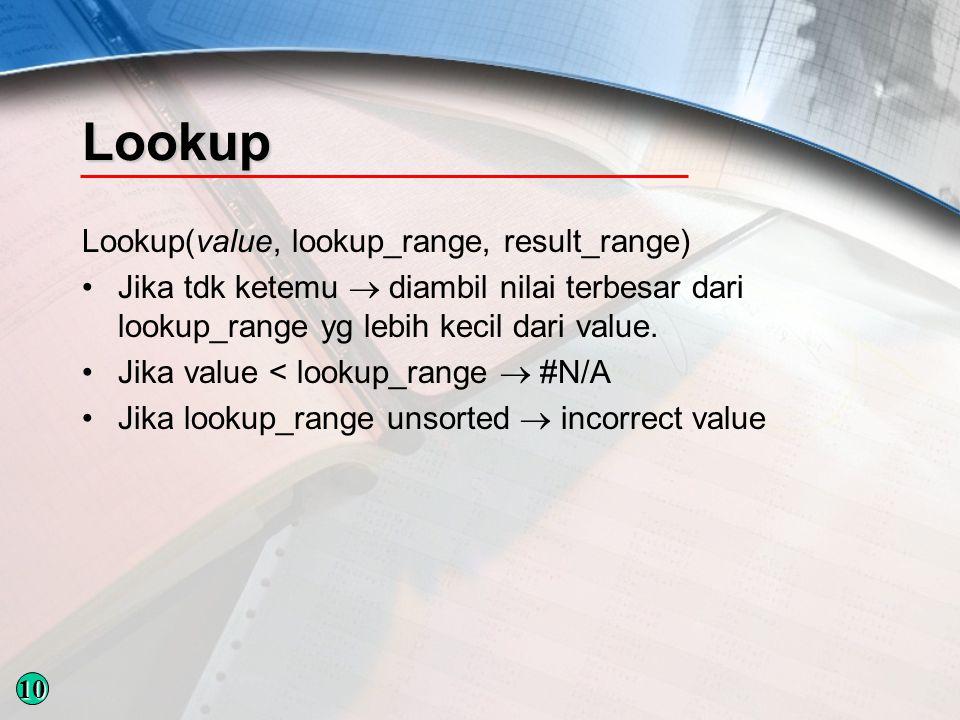 Lookup Lookup(value, lookup_range, result_range) Jika tdk ketemu  diambil nilai terbesar dari lookup_range yg lebih kecil dari value.