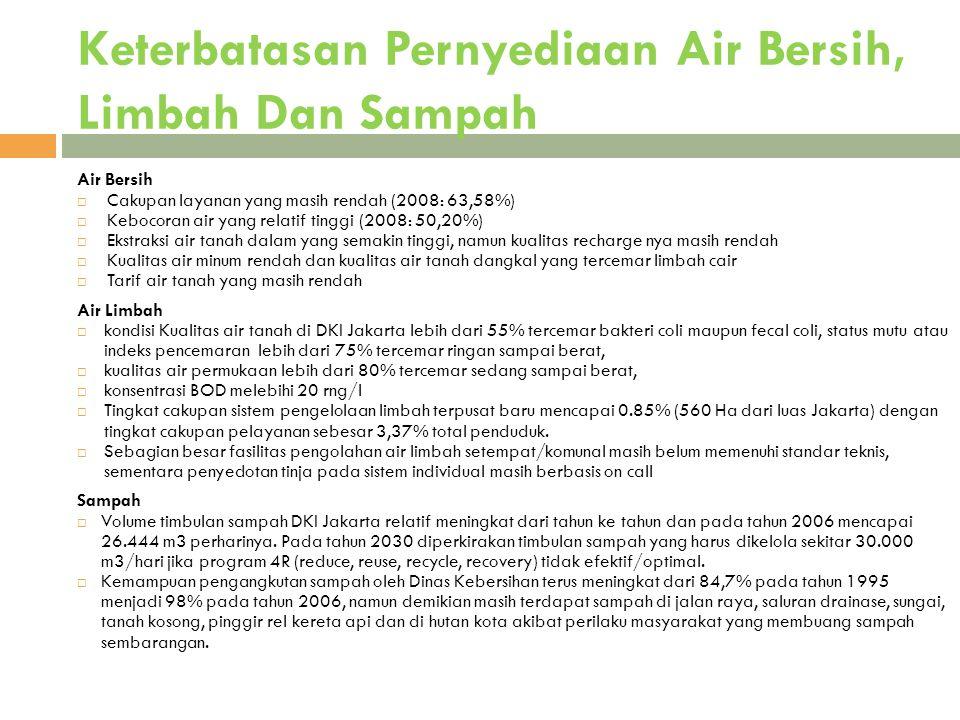 Keterbatasan Pernyediaan Air Bersih, Limbah Dan Sampah 17 Air Bersih  Cakupan layanan yang masih rendah (2008: 63,58%)  Kebocoran air yang relatif t