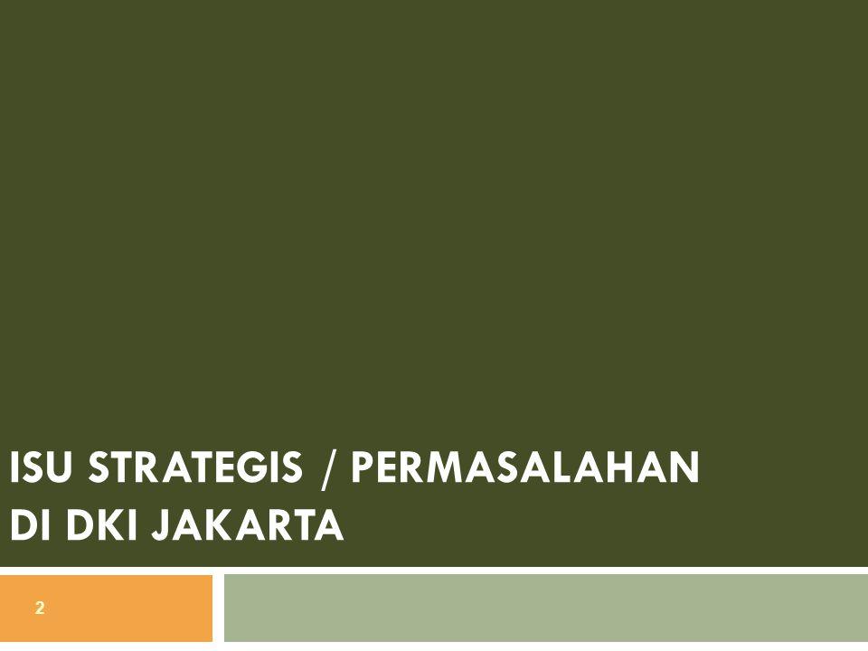 Isu Strategis / Permasalahan 3 Isu strategis di DKI Jakarta 1.
