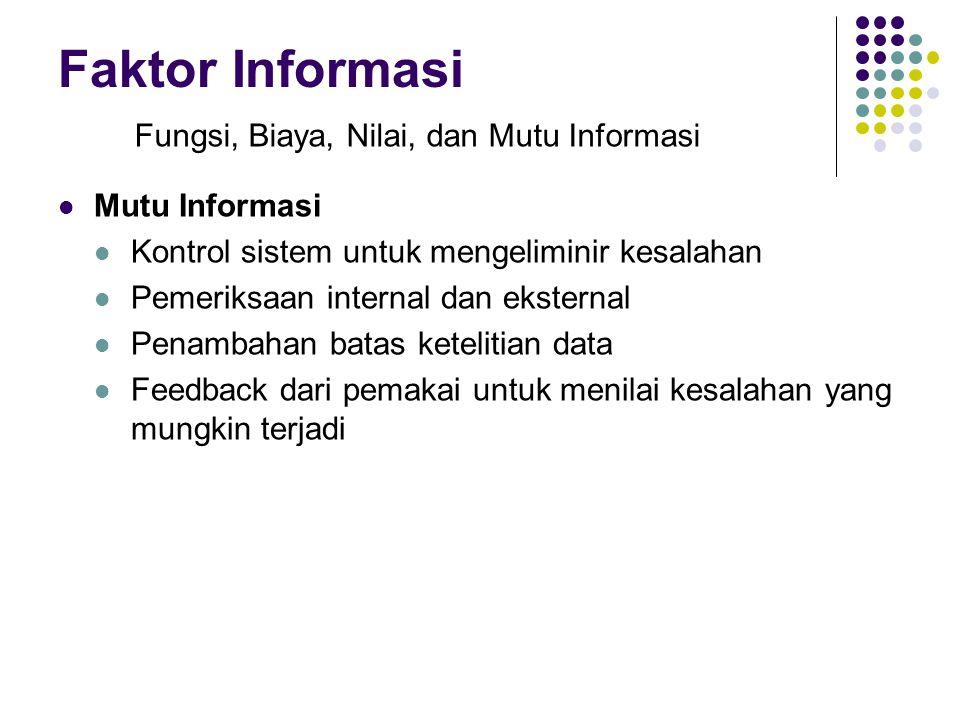 Faktor Informasi Mutu Informasi Kontrol sistem untuk mengeliminir kesalahan Pemeriksaan internal dan eksternal Penambahan batas ketelitian data Feedba