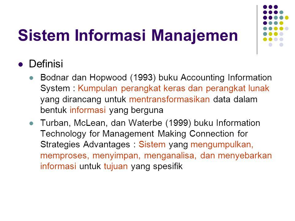 Sistem Informasi Manajemen Definisi Bodnar dan Hopwood (1993) buku Accounting Information System : Kumpulan perangkat keras dan perangkat lunak yang d