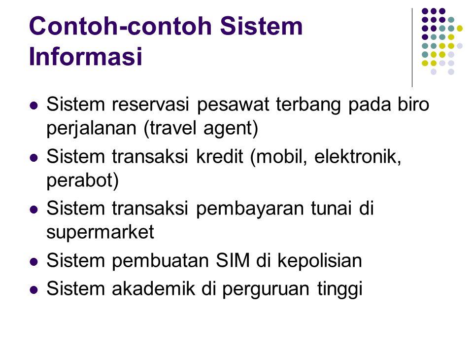 Contoh-contoh Sistem Informasi Sistem reservasi pesawat terbang pada biro perjalanan (travel agent) Sistem transaksi kredit (mobil, elektronik, perabo