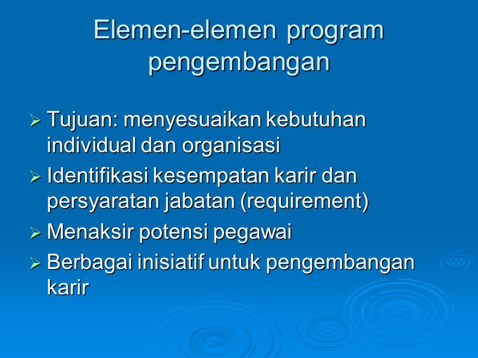 Elemen-elemen program pengembangan  Tujuan: menyesuaikan kebutuhan individual dan organisasi  Identifikasi kesempatan karir dan persyaratan jabatan