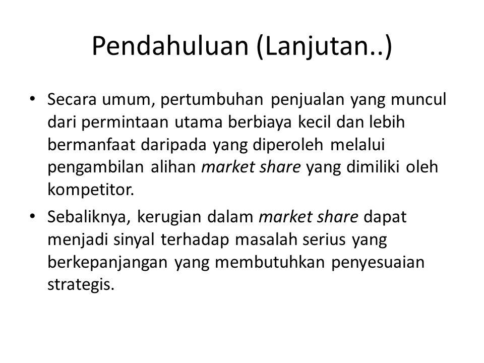 Pendahuluan (Lanjutan..) Secara umum, pertumbuhan penjualan yang muncul dari permintaan utama berbiaya kecil dan lebih bermanfaat daripada yang diperoleh melalui pengambilan alihan market share yang dimiliki oleh kompetitor.