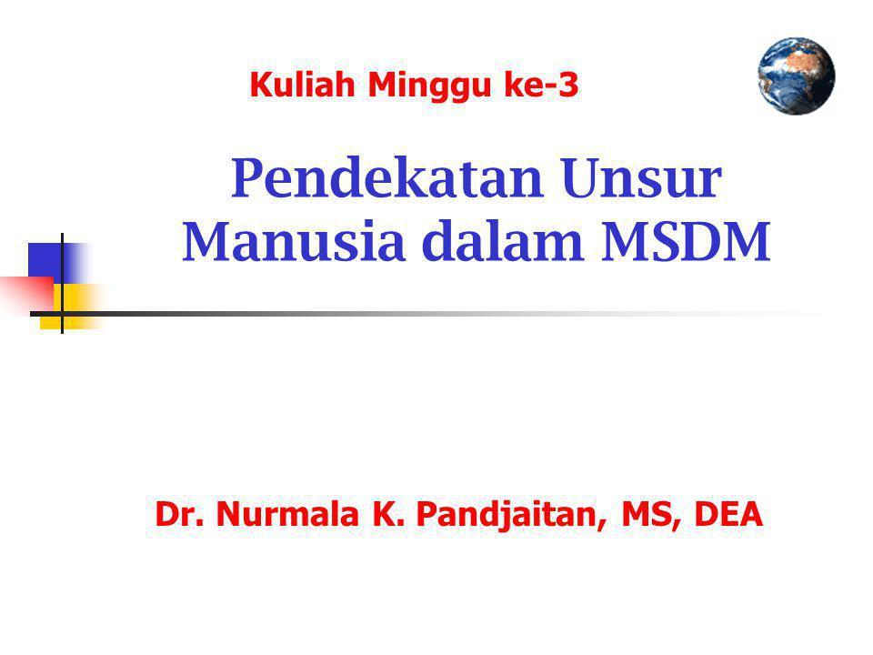 Pendekatan Unsur Manusia dalam MSDM Dr. Nurmala K. Pandjaitan, MS, DEA Kuliah Minggu ke-3