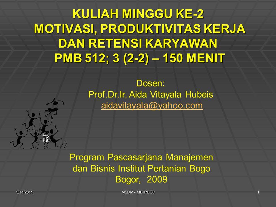 9/14/2014MSDM - MB IPB 091 KULIAH MINGGU KE-2 MOTIVASI, PRODUKTIVITAS KERJA DAN RETENSI KARYAWAN PMB 512; 3 (2-2) – 150 MENIT Program Pascasarjana Manajemen dan Bisnis Institut Pertanian Bogo Bogor, 2009 Dosen: Prof.Dr.Ir.