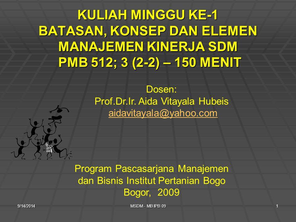 9/14/2014MSDM - MB IPB 091 KULIAH MINGGU KE-1 BATASAN, KONSEP DAN ELEMEN MANAJEMEN KINERJA SDM PMB 512; 3 (2-2) – 150 MENIT Program Pascasarjana Manajemen dan Bisnis Institut Pertanian Bogo Bogor, 2009 Dosen: Prof.Dr.Ir.