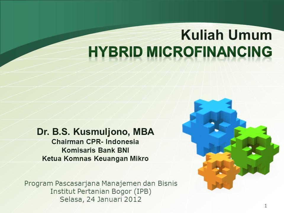 22 Hybrid Microfinancing PNPM Bantuan Sosial Bantuan Sosial Padat Karya Padat Karya Kredit Mikro Kredit Mikro Perbankan Kur Mikro + KKP-E (Penjaminan) (Subsidi Bunga) Kur Mikro + KKP-E (Penjaminan) (Subsidi Bunga) Sinergi Pembiayaan Usaha Produktif Sinergi Pembiayaan Usaha Produktif 40 Juta Usaha Mikro-Kecil (Sektor Informal) 40 Juta Usaha Mikro-Kecil (Sektor Informal) RTS (Rumah Tangga Sasaran) RTS (Rumah Tangga Sasaran) Capacity Building Capacity Building Tata Niaga APBD LPKD LKM Perkuatan Permodalan LPDB Dana Bergulir DANA MASYARAKAT/ DPK DANA MASYARAKAT/ DPK Askrindo & Jamkrindo Askrindo & Jamkrindo Penjaminan Kredit Penjaminan Kredit DANA PEMERINTAH/ APBN DANA PEMERINTAH/ APBN Penyaluran PEMP/ PUAP KADINDA Inkubasi Bisnis