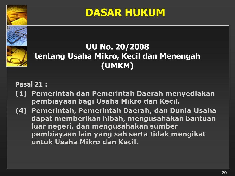 UU No. 20/2008 tentang Usaha Mikro, Kecil dan Menengah (UMKM) Pasal 21 : (1)Pemerintah dan Pemerintah Daerah menyediakan pembiayaan bagi Usaha Mikro d