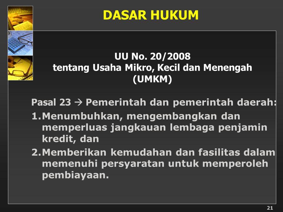 21 UU No. 20/2008 tentang Usaha Mikro, Kecil dan Menengah (UMKM) Pasal 23  P emerintah dan pemerintah daerah: 1.Menumbuhkan, mengembangkan dan memper