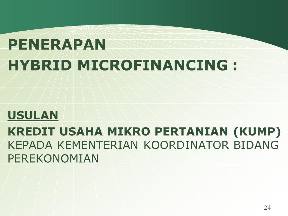 PENERAPAN HYBRID MICROFINANCING : USULAN KREDIT USAHA MIKRO PERTANIAN (KUMP) KEPADA KEMENTERIAN KOORDINATOR BIDANG PEREKONOMIAN 24