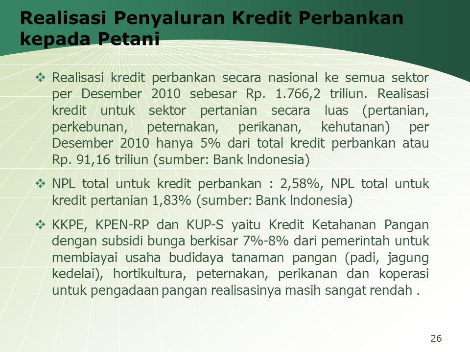 Realisasi Penyaluran Kredit Perbankan kepada Petani  Realisasi kredit perbankan secara nasional ke semua sektor per Desember 2010 sebesar Rp. 1.766,2