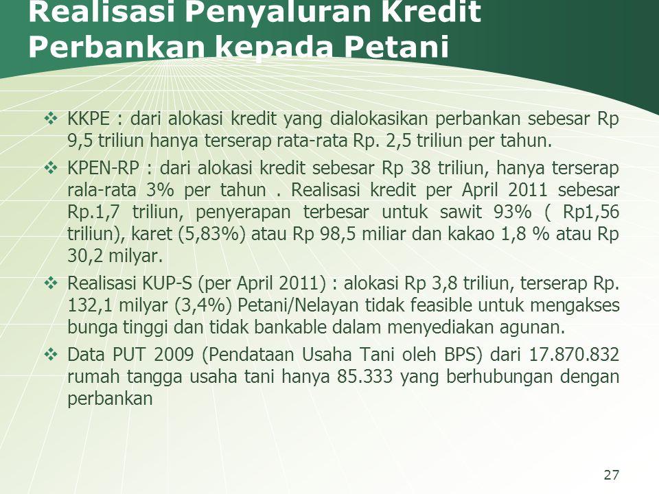 Realisasi Penyaluran Kredit Perbankan kepada Petani  KKPE : dari alokasi kredit yang dialokasikan perbankan sebesar Rp 9,5 triliun hanya terserap rat