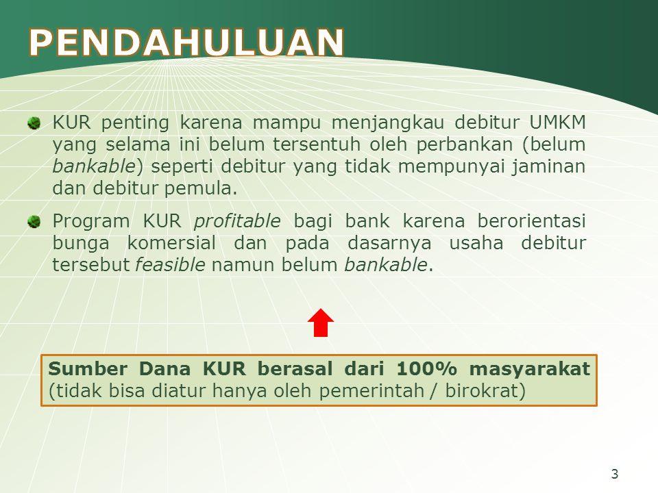 3 KUR penting karena mampu menjangkau debitur UMKM yang selama ini belum tersentuh oleh perbankan (belum bankable) seperti debitur yang tidak mempunyai jaminan dan debitur pemula.