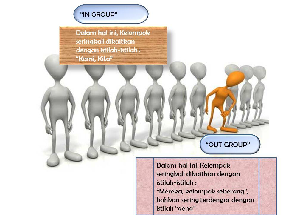 Dalam hal ini, Kelompok seringkali dikaitkan dengan istilah-istilah : Kami, Kita Dalam hal ini, Kelompok seringkali dikaitkan dengan istilah-istilah : Kami, Kita Dalam hal ini, Kelompok seringkali dikaitkan dengan istilah-istilah : Mereka, kelompok seberang , bahkan sering terdengar dengan istilah geng IN GROUP OUT GROUP
