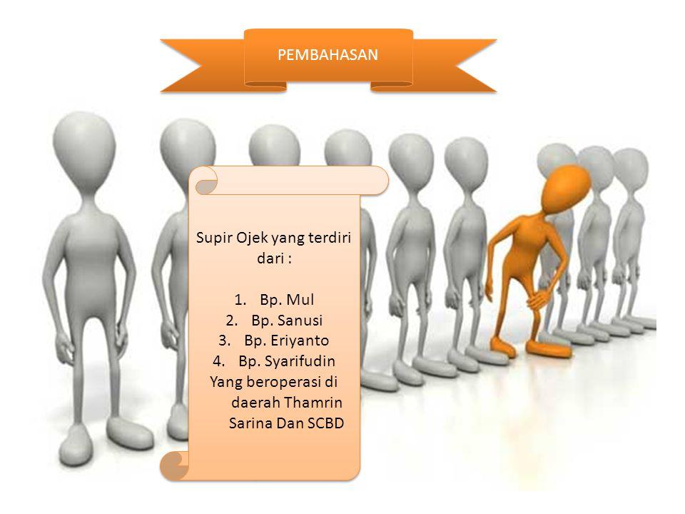 PEMBAHASAN Supir Ojek yang terdiri dari : 1.Bp. Mul 2.Bp. Sanusi 3.Bp. Eriyanto 4.Bp. Syarifudin Yang beroperasi di daerah Thamrin Sarina Dan SCBD Sup