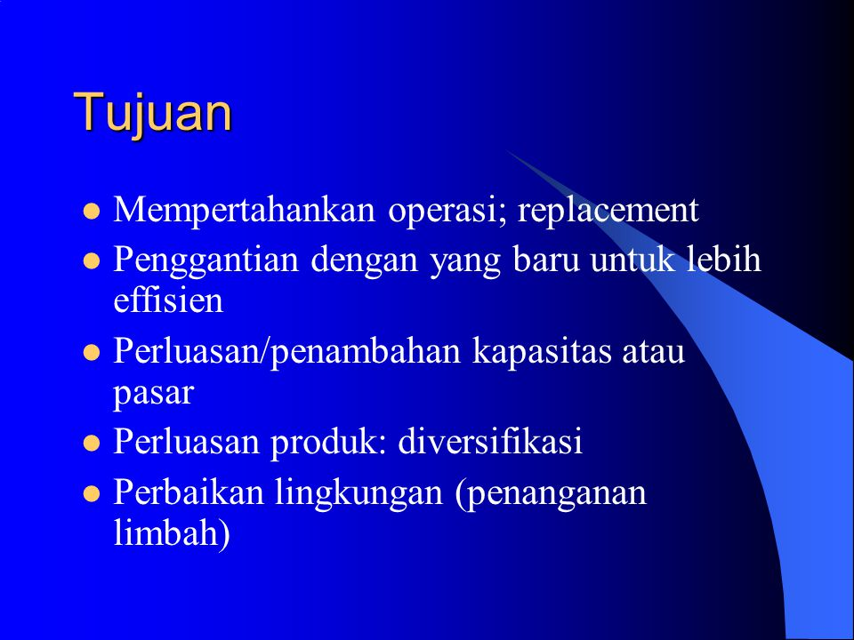 Kriteria Jangka Waktu Pengembalian Investasi (Payback Period) Nilai Diskonto Bersih (Net Present Value) Benefit Cost Ratio (Profitability Index) Internal Rate of Return; Modified Internal Rate of Return)