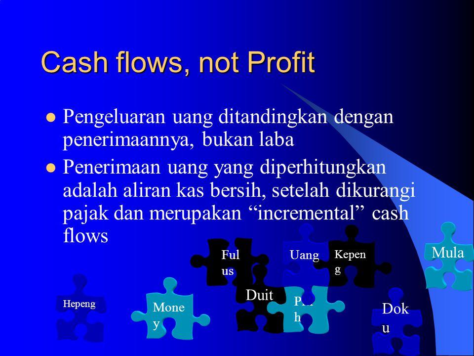 Cash flows, not Profit Pengeluaran uang ditandingkan dengan penerimaannya, bukan laba Penerimaan uang yang diperhitungkan adalah aliran kas bersih, setelah dikurangi pajak dan merupakan incremental cash flows Kepen g Piti h Dok u Uang Mone y Duit Ful us Mula Hepeng
