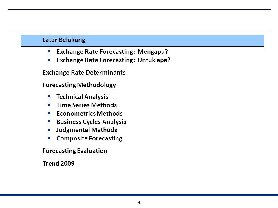 1 Latar Belakang  Exchange Rate Forecasting : Mengapa?  Exchange Rate Forecasting : Untuk apa? Exchange Rate Determinants Forecasting Methodology 