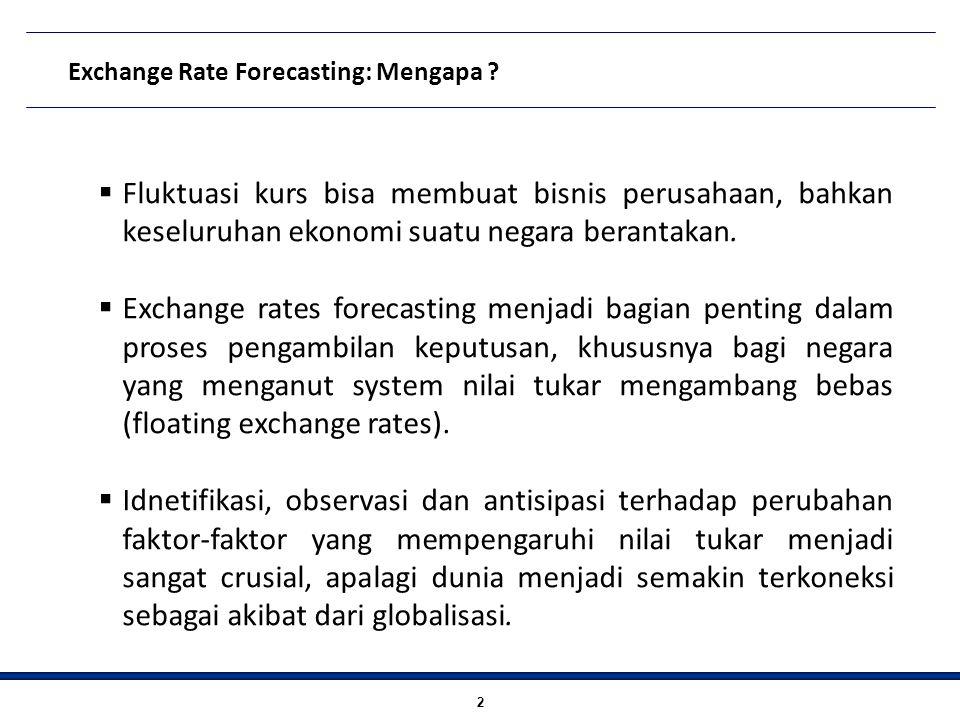 2 Exchange Rate Forecasting: Mengapa ?  Fluktuasi kurs bisa membuat bisnis perusahaan, bahkan keseluruhan ekonomi suatu negara berantakan.  Exchange