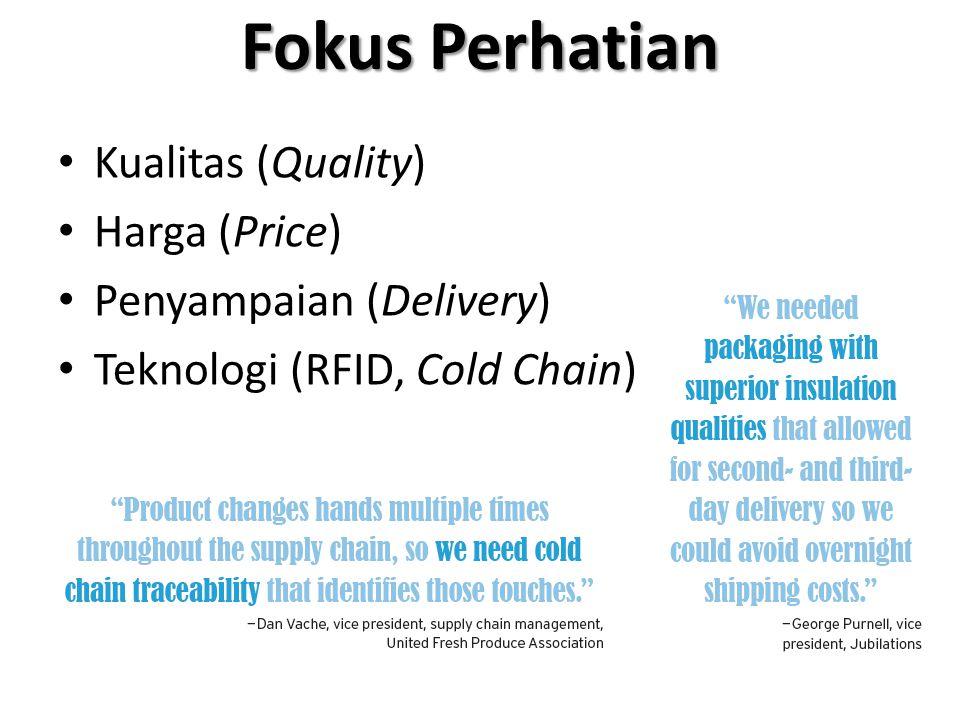 Fokus Perhatian Kualitas (Quality) Harga (Price) Penyampaian (Delivery) Teknologi (RFID, Cold Chain)