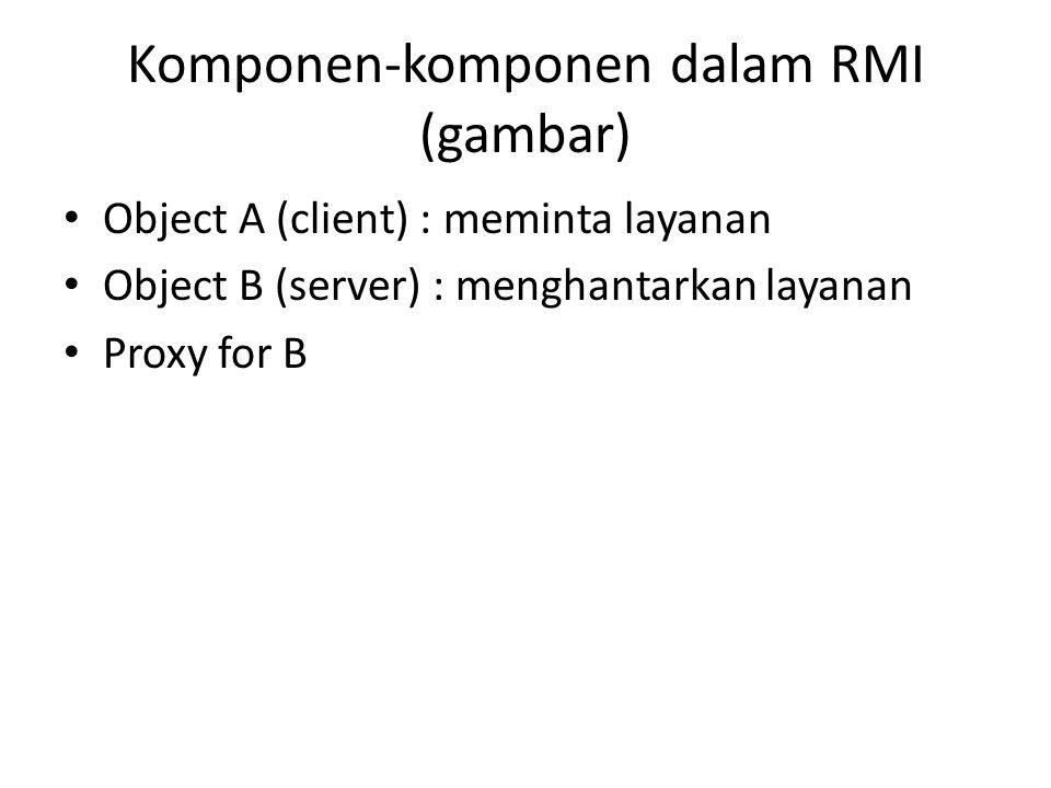 Komponen-komponen dalam RMI (gambar) Object A (client) : meminta layanan Object B (server) : menghantarkan layanan Proxy for B