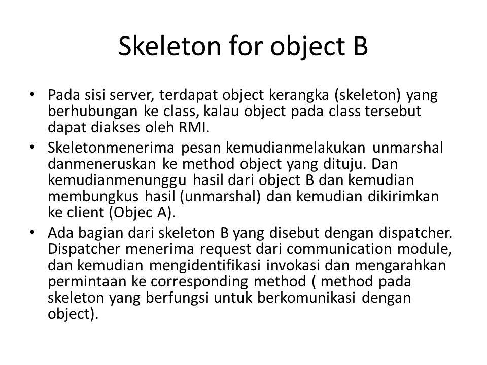 Skeleton for object B Pada sisi server, terdapat object kerangka (skeleton) yang berhubungan ke class, kalau object pada class tersebut dapat diakses