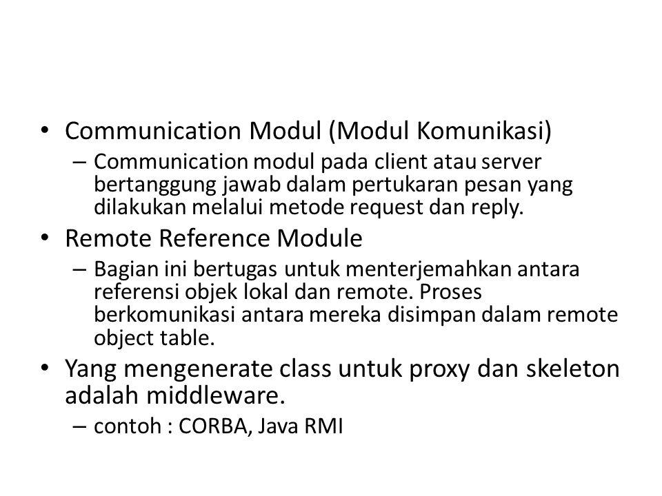 Communication Modul (Modul Komunikasi) – Communication modul pada client atau server bertanggung jawab dalam pertukaran pesan yang dilakukan melalui m