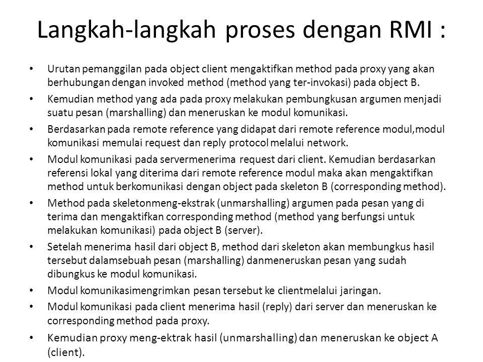 Langkah-langkah proses dengan RMI : Urutan pemanggilan pada object client mengaktifkan method pada proxy yang akan berhubungan dengan invoked method (