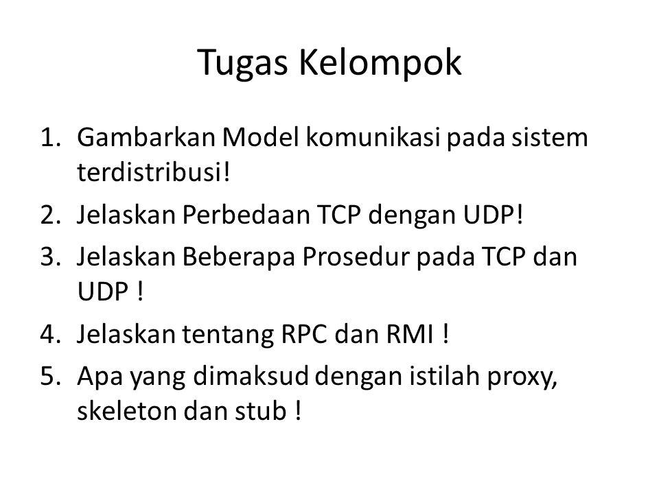 Tugas Kelompok 1.Gambarkan Model komunikasi pada sistem terdistribusi! 2.Jelaskan Perbedaan TCP dengan UDP! 3.Jelaskan Beberapa Prosedur pada TCP dan