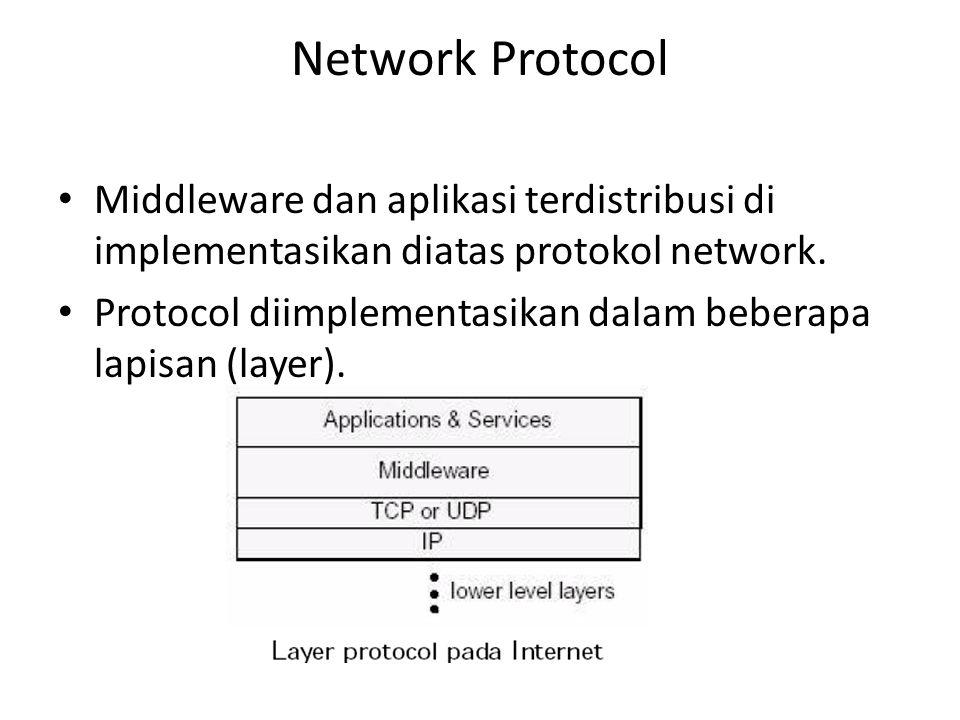 Network Protocol Middleware dan aplikasi terdistribusi di implementasikan diatas protokol network. Protocol diimplementasikan dalam beberapa lapisan (