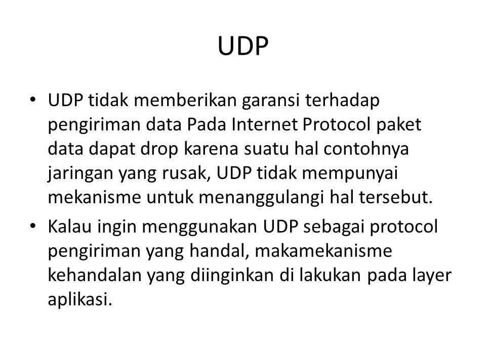 UDP UDP tidak memberikan garansi terhadap pengiriman data Pada Internet Protocol paket data dapat drop karena suatu hal contohnya jaringan yang rusak,