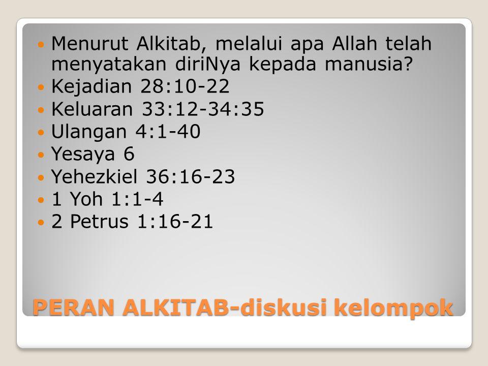 PERAN ALKITAB-diskusi kelompok Menurut Alkitab, melalui apa Allah telah menyatakan diriNya kepada manusia? Kejadian 28:10-22 Keluaran 33:12-34:35 Ulan