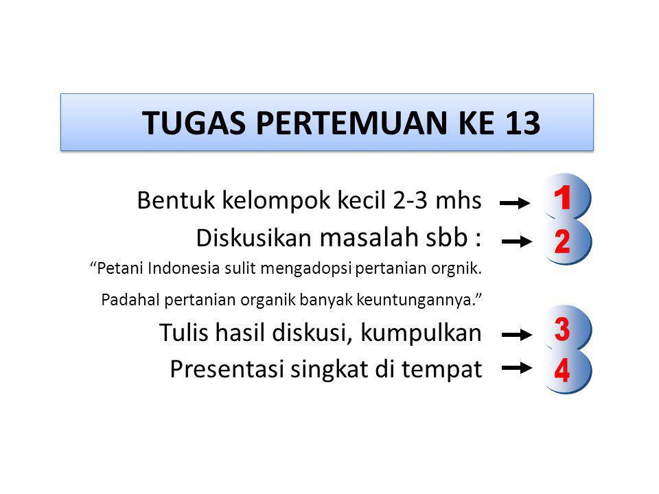 TUGAS PERTEMUAN KE 13 Bentuk kelompok kecil 2-3 mhs Diskusikan masalah sbb : Petani Indonesia sulit mengadopsi pertanian orgnik.