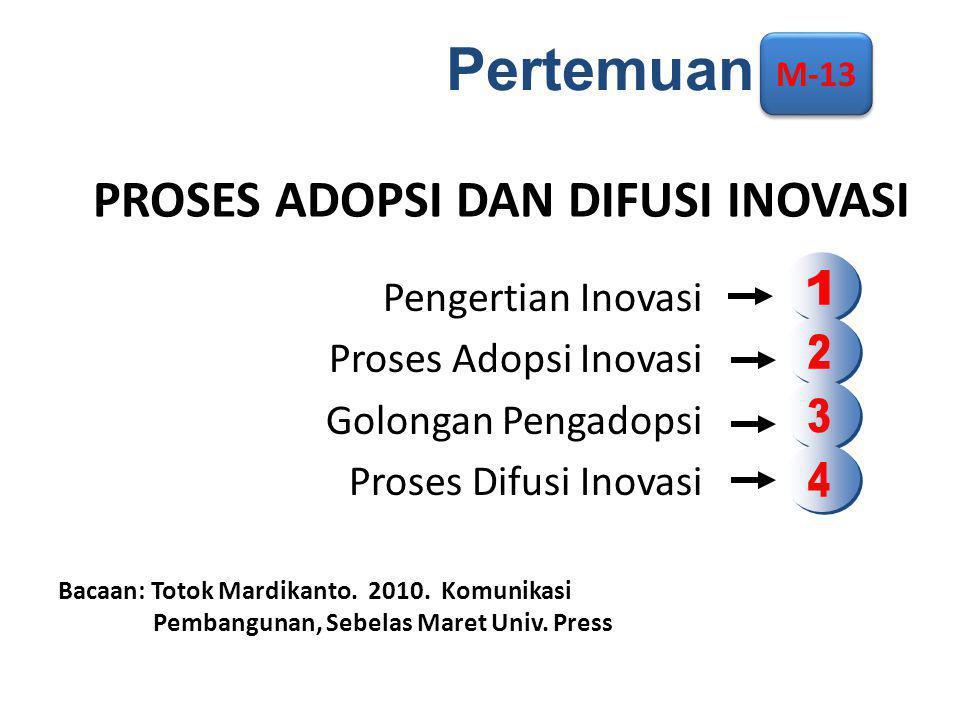 PROSES ADOPSI DAN DIFUSI INOVASI Pengertian Inovasi Proses Adopsi Inovasi Golongan Pengadopsi Proses Difusi Inovasi Bacaan: Totok Mardikanto.