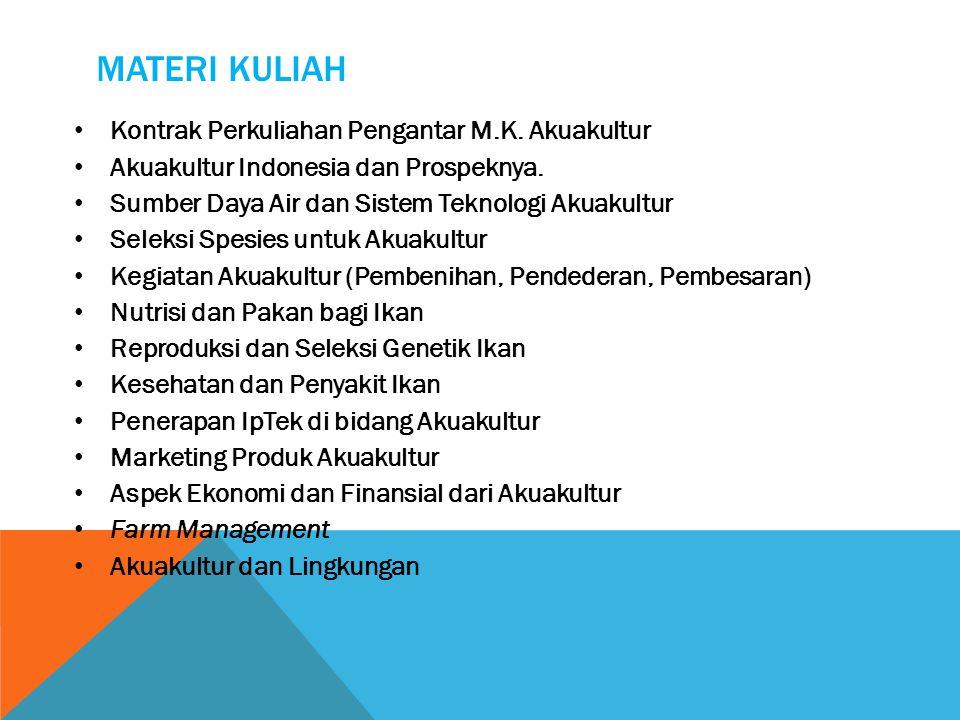 MATERI KULIAH Kontrak Perkuliahan Pengantar M.K. Akuakultur Akuakultur Indonesia dan Prospeknya. Sumber Daya Air dan Sistem Teknologi Akuakultur Selek