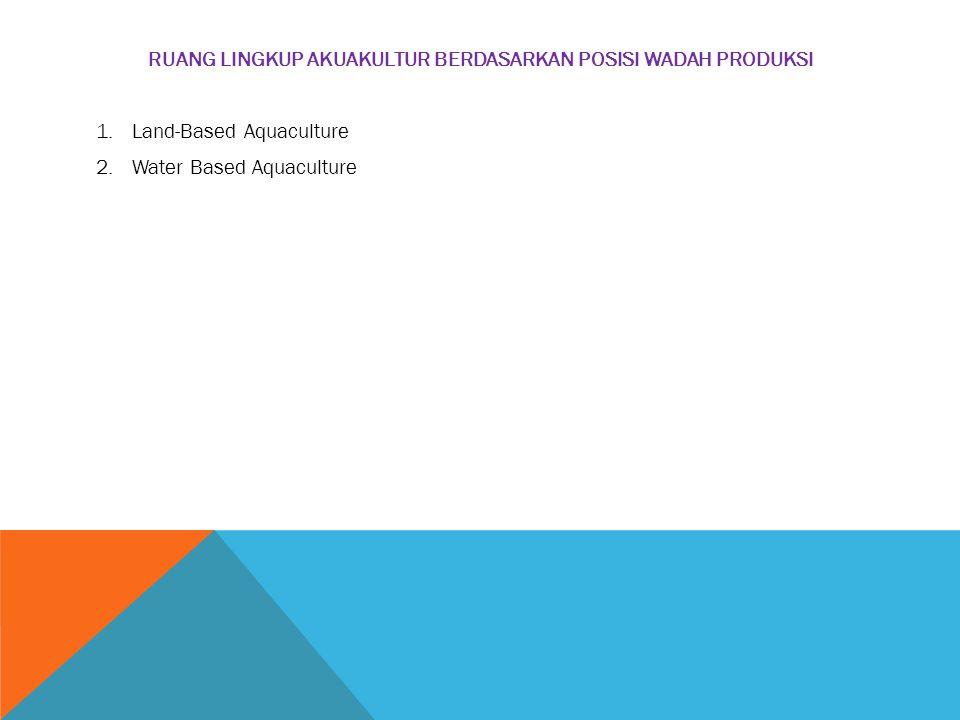 RUANG LINGKUP AKUAKULTUR BERDASARKAN POSISI WADAH PRODUKSI 1.Land-Based Aquaculture 2.Water Based Aquaculture