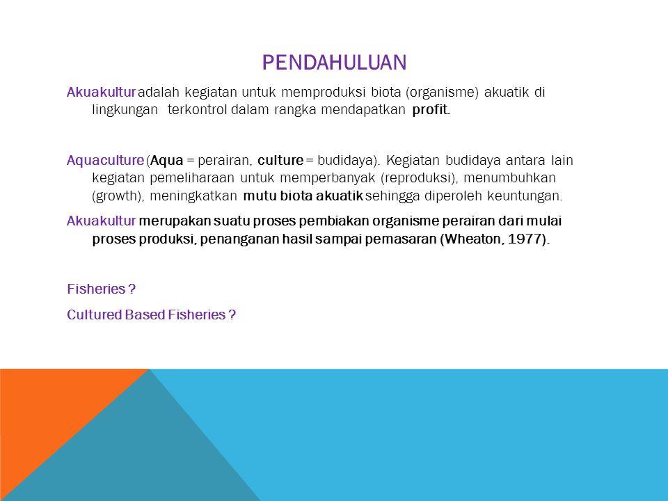 PENDAHULUAN Akuakultur adalah kegiatan untuk memproduksi biota (organisme) akuatik di lingkungan terkontrol dalam rangka mendapatkan profit. Aquacultu