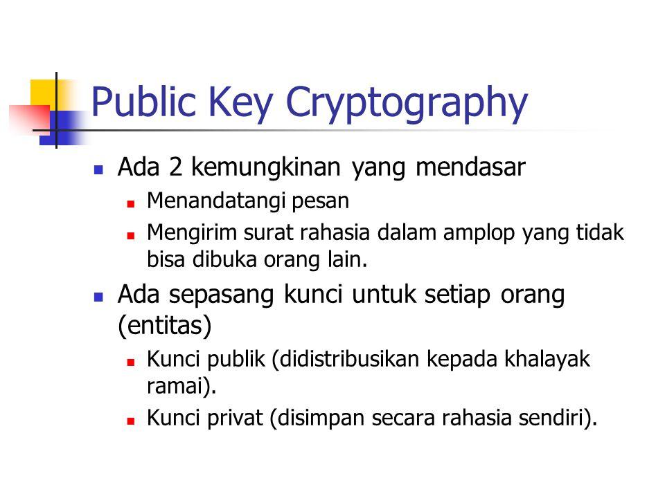 """Symetric Cryptography Sebuah kunci dipakai bersama oleh pengirim & penerima pesan. problem """"pendistribusian kunci rahasia"""""""