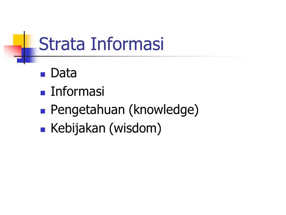 Strata Informasi Data Informasi Pengetahuan (knowledge) Kebijakan (wisdom)