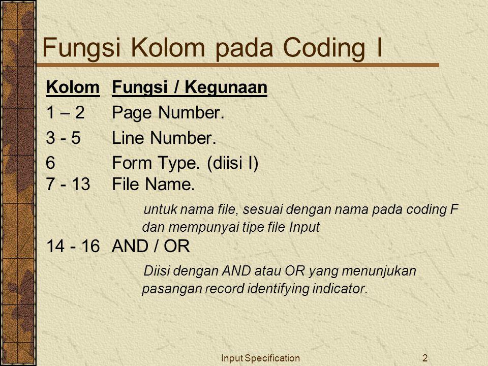 Input Specification2 Fungsi Kolom pada Coding I KolomFungsi / Kegunaan 1 – 2Page Number.