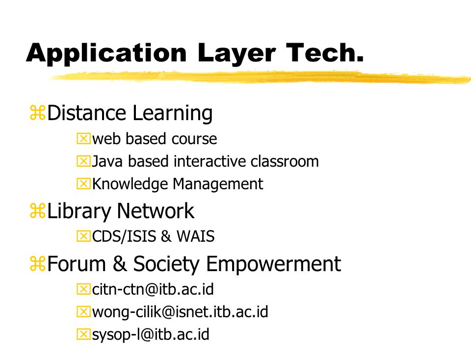 Application Layer Tech. zDistance Learning xweb based course xJava based interactive classroom xKnowledge Management zLibrary Network xCDS/ISIS & WAIS