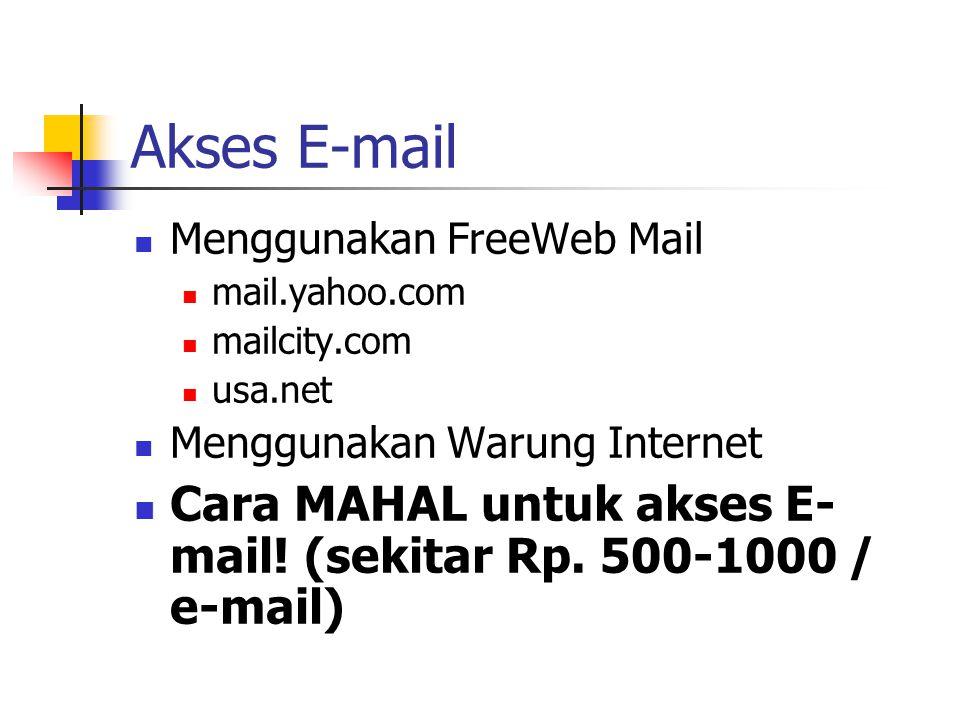 Akses E-mail Menggunakan FreeWeb Mail mail.yahoo.com mailcity.com usa.net Menggunakan Warung Internet Cara MAHAL untuk akses E- mail.