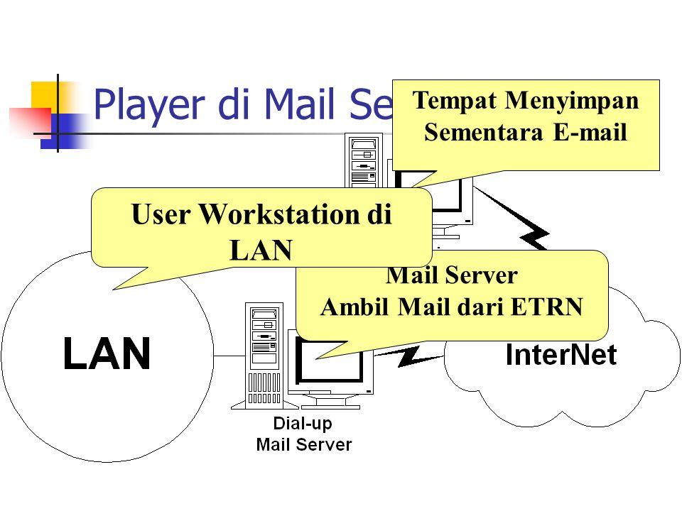 Player di Mail Servis Tempat Menyimpan Sementara E-mail Mail Server Ambil Mail dari ETRN User Workstation di LAN