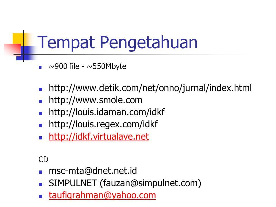 Tempat Pengetahuan ~900 file - ~550Mbyte http://www.detik.com/net/onno/jurnal/index.html http://www.smole.com http://louis.idaman.com/idkf http://louis.regex.com/idkf http://idkf.virtualave.net CD msc-mta@dnet.net.id SIMPULNET (fauzan@simpulnet.com) taufiqrahman@yahoo.com