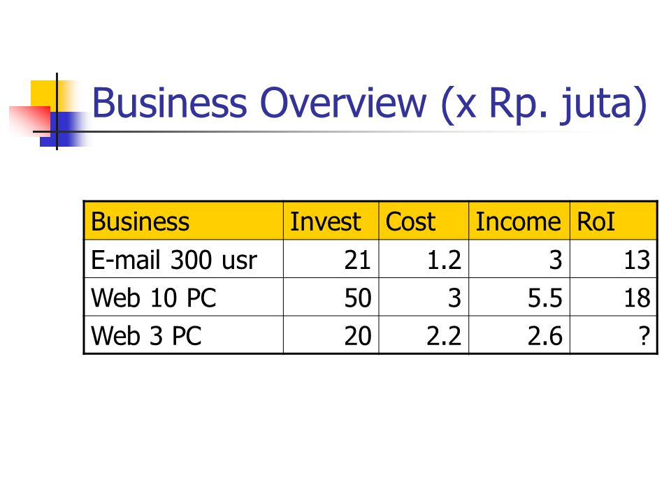 Business Overview (x Rp. juta) BusinessInvestCostIncomeRoI E-mail 300 usr211.2313 Web 10 PC5035.518 Web 3 PC202.22.6?