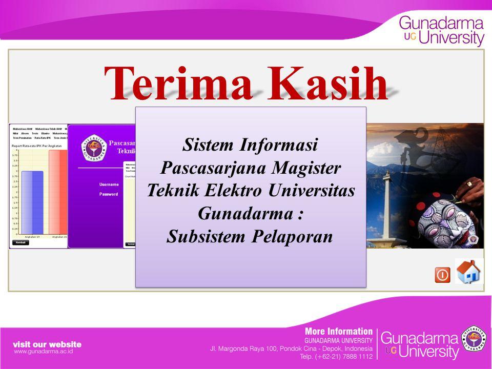 Terima Kasih Sistem Informasi Pascasarjana Magister Teknik Elektro Universitas Gunadarma : Subsistem Pelaporan Sistem Informasi Pascasarjana Magister