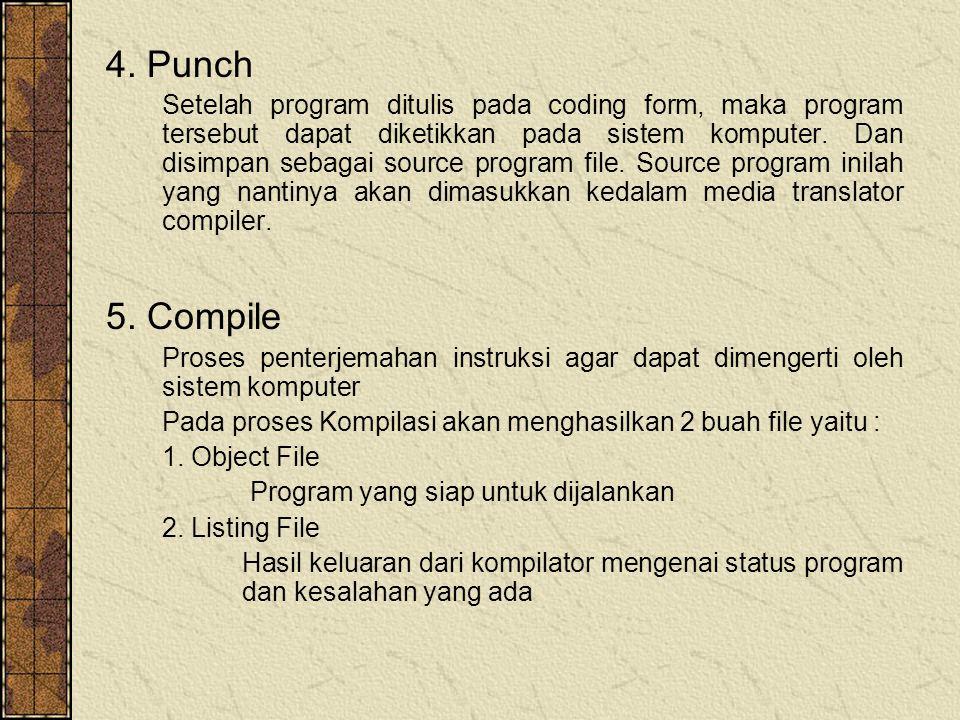 4. Punch Setelah program ditulis pada coding form, maka program tersebut dapat diketikkan pada sistem komputer. Dan disimpan sebagai source program fi