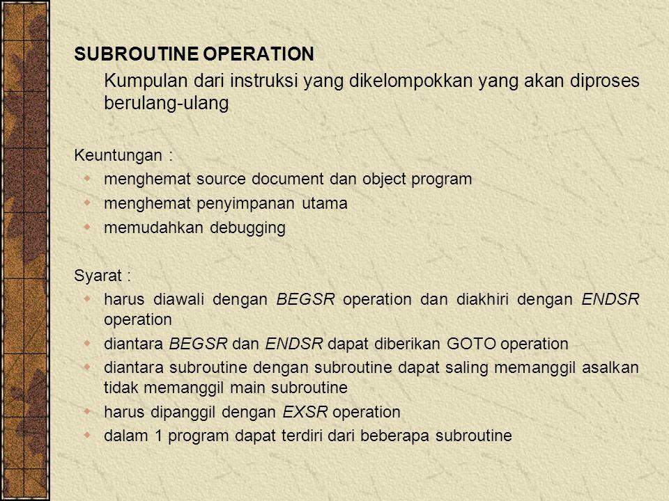 SUBROUTINE OPERATION Kumpulan dari instruksi yang dikelompokkan yang akan diproses berulang-ulang Keuntungan :  menghemat source document dan object program  menghemat penyimpanan utama  memudahkan debugging Syarat :  harus diawali dengan BEGSR operation dan diakhiri dengan ENDSR operation  diantara BEGSR dan ENDSR dapat diberikan GOTO operation  diantara subroutine dengan subroutine dapat saling memanggil asalkan tidak memanggil main subroutine  harus dipanggil dengan EXSR operation  dalam 1 program dapat terdiri dari beberapa subroutine